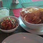 flour chips, salsa & flame on sauce