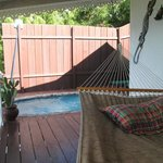 Deck with hammock and private pool