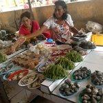 Bajau selling seaweed in market