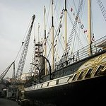 Looking towards the bow along the port side of the SS Great Britain at the quayside in Bristol