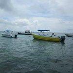 Boats anchored at Hol Chan