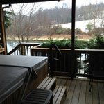 Deck/hot tub of pond view