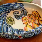 Pottery serving dishes and platters