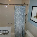 Awkward tub, sagging rod, cheap shower curtain, toilet in way of fixtures, crooked soap tray