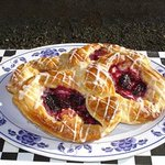 Cream Cheese Danish - croissant pastry and asorted fruits: marionberry, blueberry, raspberry, le