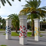 Pillars decorated with student artwork