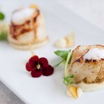 Seared scallops, cauliflower purée, cumin foam and raz el hanout caramel