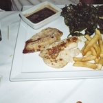 Tilapia with deep fried spinach