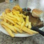 Prime Rib w/ fried shrimp.