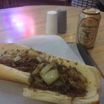 Cheesesteak with Provolone and onions.. And a lager!!
