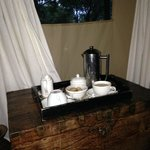 Coffee service at our tents at whatever time we liked each morning.