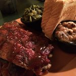 St. Louis ribs with turnip greens black-eyed peas and Texas toast
