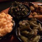 Mac and cheese turnip greens green beans and fried okra