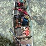 Bajau people selling fresh seafood