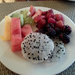 lovely fresh fruit at breakfast