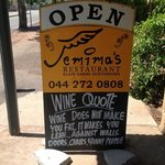 Wine quote from Jemima's.