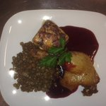 Confit of Duck served with Braised Puy Lentil, Creamed Garlic Potatoes & a Red Currant Sauce
