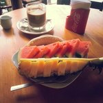 tasty fresh fruits and good coffee