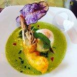 Œuf poché #beurre blanc #gambas tempura #folie