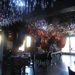 Inside the restaurant - very festive