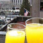 Breakfast at the next door Club Quarters, with view of Rock Center Christmas Tree & skating