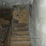 the stairs of the eerie basement