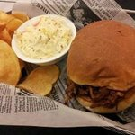 Pulled Pork - with handcrafted chips dusted with Parmesan and served with creamy coleslaw