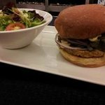 Vegetarian on Brioche - Grilled portabello mushroom, vegetarian pattie, peppered jack, tomato