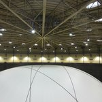 Between the ceiling of the gasometer and Christo's balloon