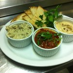 Triple Dip! Hummus, baba ganoush and matbucha- all made fresh in house