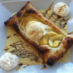 Apple tart with 1 scoop of ice cream & 2 of whipped cream