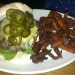 Venison, cheddar and jalapenos, with sweet potato chips