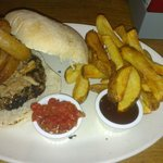 Beef, pulled pork and look at those onion rings.