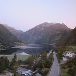 Sunrise over Geirangerfjord from Room 524