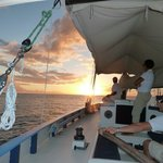 crew and sunset on jus sail