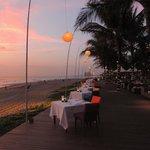 terras aan het strand