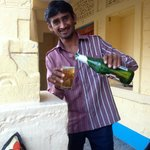 Fatan comes with a lovely beer in the hot afternoon.