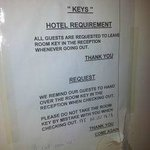 "Notice for guests (check the date) - just so you get a slight idea of how this ""hotel"" is ""manag"