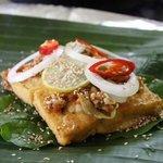 stuffed tofu in banana leaf (made in cooking class)
