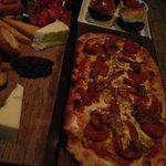 Charcuterie board, chorizo flatbread, miniture sliders
