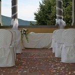 Loggia allestita per cerimonia