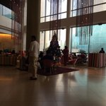 the lobby with christmas decorations
