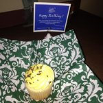 Sopcial Touch: a cupcake was left for Carlie, since it was his birthday