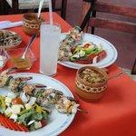 Shrimp kebobs and salad