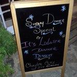 Sunday Night Lobster Dinner Memu