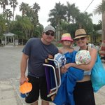 heading to the beach with complimentary chairs and beach toys!