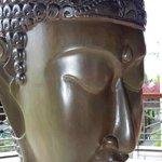 A beautiful Buddha face adorns the hotel premises