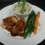 baked cod stuffed with shrimp and crab drizzled with citrus teriyaki sauce