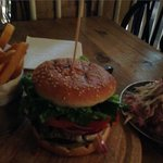 Burger, fries and coleslaw