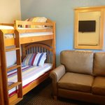 Family suite: with bunk bed,sofa sleeper, and flat screen TV.